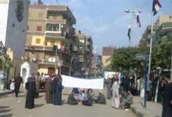 قطع الطريق أمام مبنى محافظة المنوفية بسبب نقص أنابيب الغاز