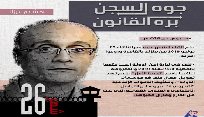 """حملة """"#جوه_السجن_بره_القانون"""" تندد باستمرار اعتقال الصحفي هشام فؤاد"""
